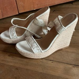Stuart Weitzman Guipure Lace Wedge Sandals